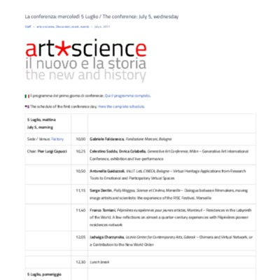 La conferenza- mercoledì 5 Luglio - The...rence- July 5, wednesday – art*science.pdf
