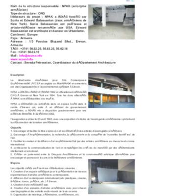 NPAK (Centre Arménien pour l'Art Contemporain Expérimental) - Erevan - Artfactories.pdf